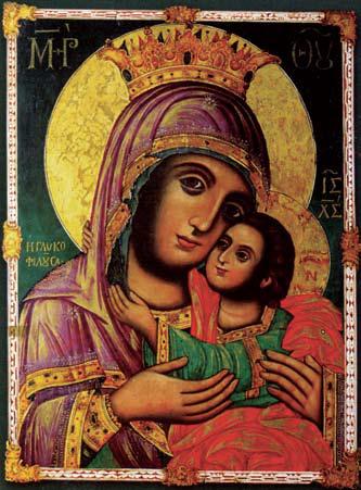 Ἡ Εἰκόνα τῆς Παναγίας τῆς «Γλυκοφιλούσας», τοῦ Ἰωάννη Καποδίστρια Τὴν εἰκόνα αὐτὴ ὁ πλήρης πίστεως στὸν Θεό καὶ τὴν Παναγία Μητέρα του Κυβερνήτης, Ἰωάννης Καποδίστριας, εἶχε στὸ δωμάτιό του καί, ὅπως φαίνεται ἀπὸ τὴν ἰδιόχειρη ἐπιγραφὴ ποὺ σώζεται ὄπισθεν τῆς εἰκόνας, στὴν Ὑπεραγία Θεοτόκο ἀπευθυνόταν προσευ- χόμενος ὁ μαρτυρικὸς ἐθνικὸς ἡγέτης κατὰ τὶς ὧρες τῶν περιστάσεων καὶ κινδύνων, ποὺ συναντοῦσε στὴν προ- σπάθειά του νὰ συστήση καὶ νὰ συγκροτήση, σὺν Θεῷ, ἐκ θεμελίων, τὸ καινούργιο Ἑλληνικὸ Κράτος. Στὸ πίσω μέρος τῆς εἰκόνας ὑπάρχει ἰδιόχειρο ἱκε- τευτικὸ ἐπίγραμμα τοῦ Ἰωάννη Καποδίστρια: «Γλυκοφιλοῦσα Μαριάμ, τὸν Υἱόν σου αἴτησαι ὑπὲρ ἐμοῦ τοῦ δούλου σου Ἰωάννου, βραβεῦσαι, μετὰ σοφίας κυβερνᾶν τὸν ευσεβῆ λαόν σου καὶ βασιλείας με Αὐτοῦ τυχεῖν δι΄ ἔλεός Του. 1829»