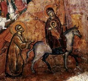 Ἡ φυγὴ στὴν Αἰγυπτο, τοιχογραφία Ἱ.Μ. Ἁγίου Νεοφύτου, Κύπρος